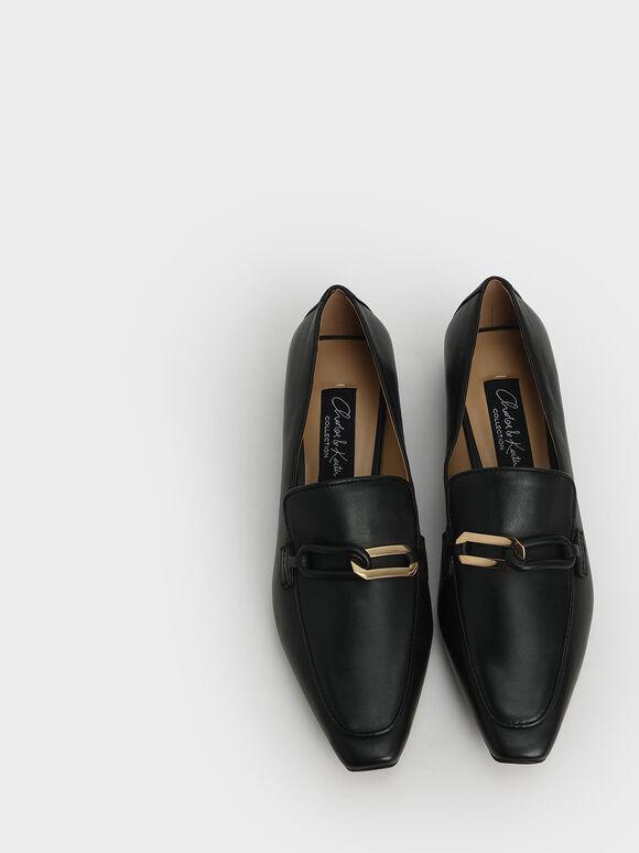 Embellished Leather Loafers, Black, hi-res