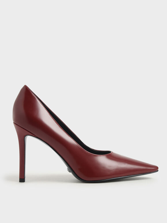 Leather Stiletto Heel Pumps, Red, hi-res
