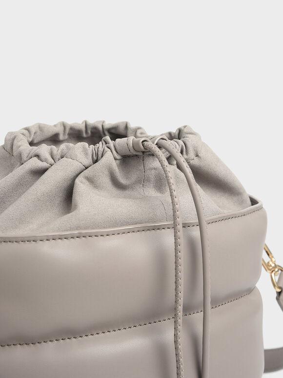 Quilted Drawstring Bucket Bag, Sand, hi-res