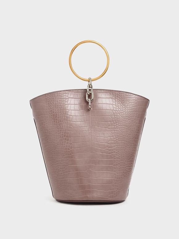 Croc-Effect Large Bracelet Bucket Bag, Mauve, hi-res