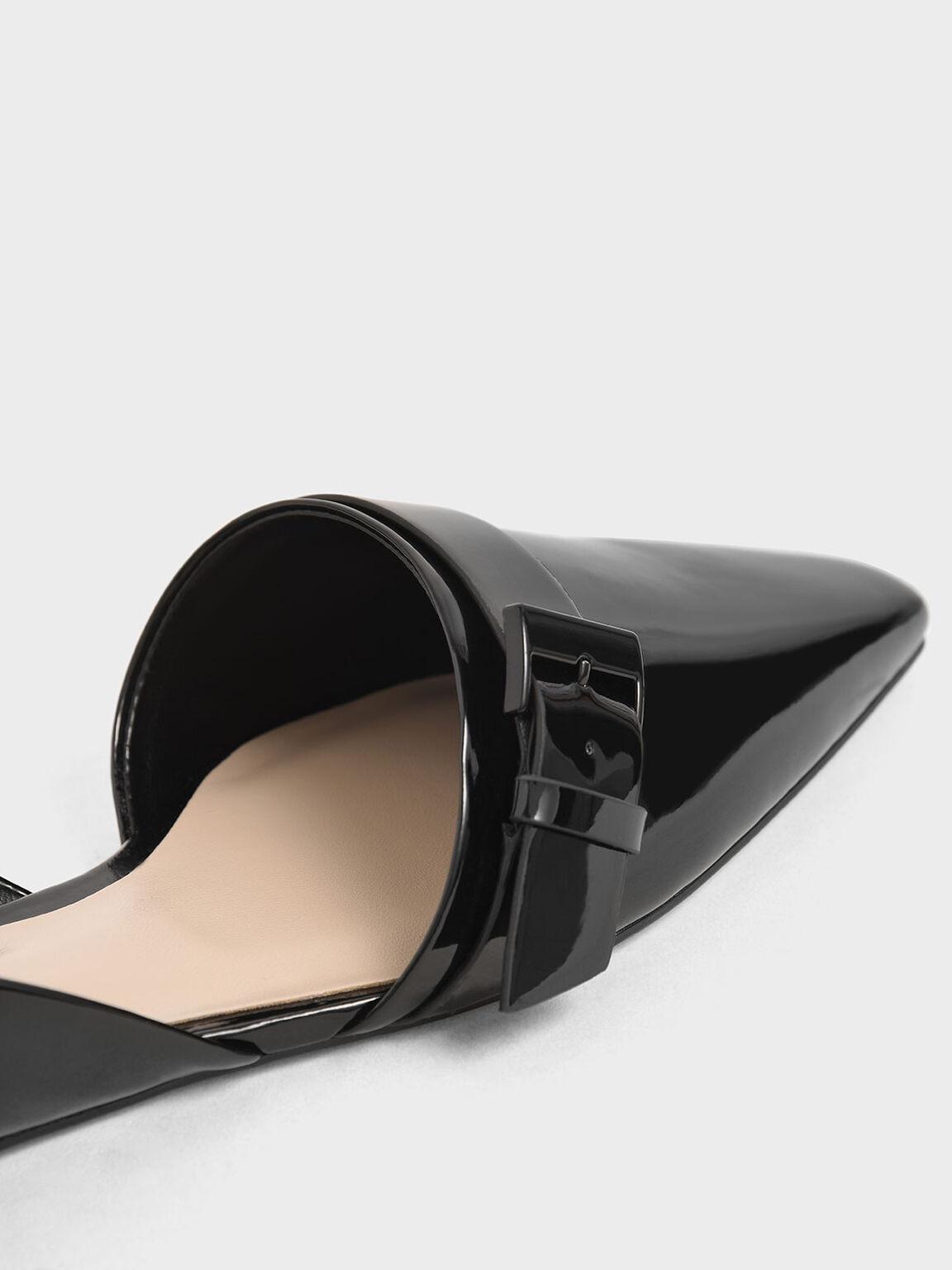 Patent Buckle D'Orsay Flats, Black, hi-res
