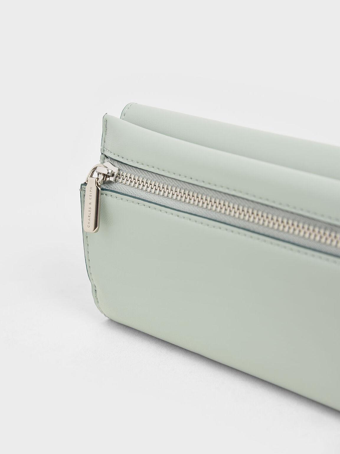 Mini Metal Push Lock Wallet, Mint Green, hi-res