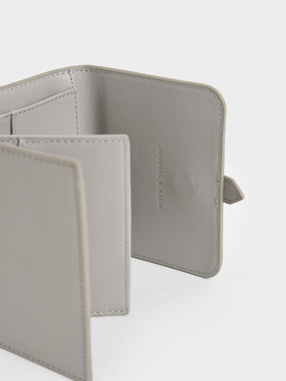 Buckle Strap Short Wallet, Grey, hi-res