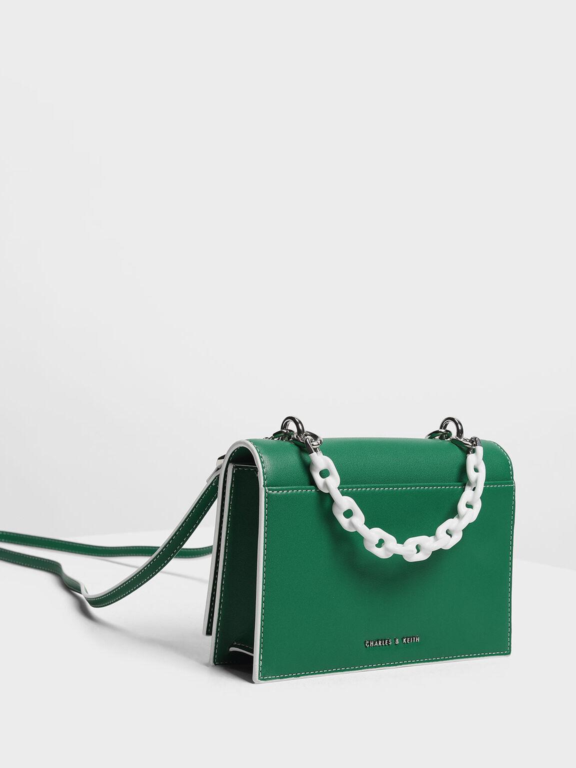 Single Chain Handle Push Lock Bag, Green, hi-res