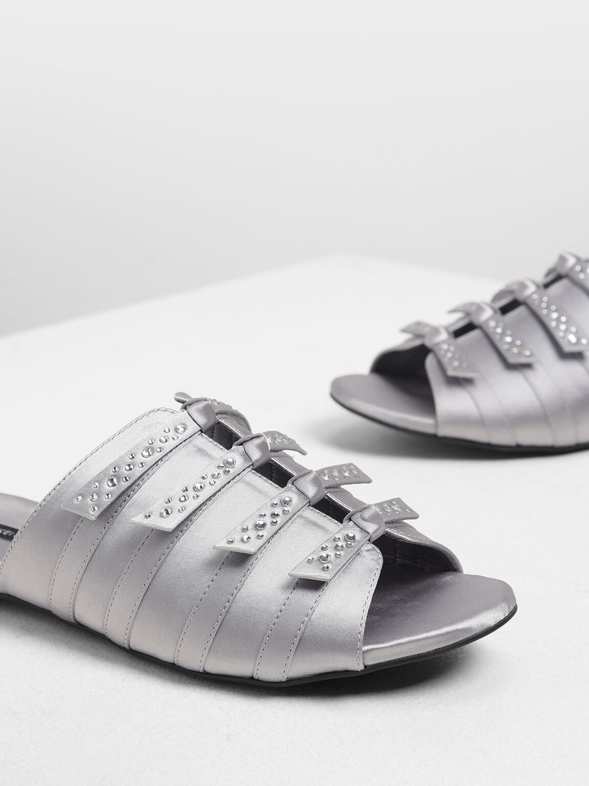 Bow Embellished Satin Slide Sandals, Grey, hi-res
