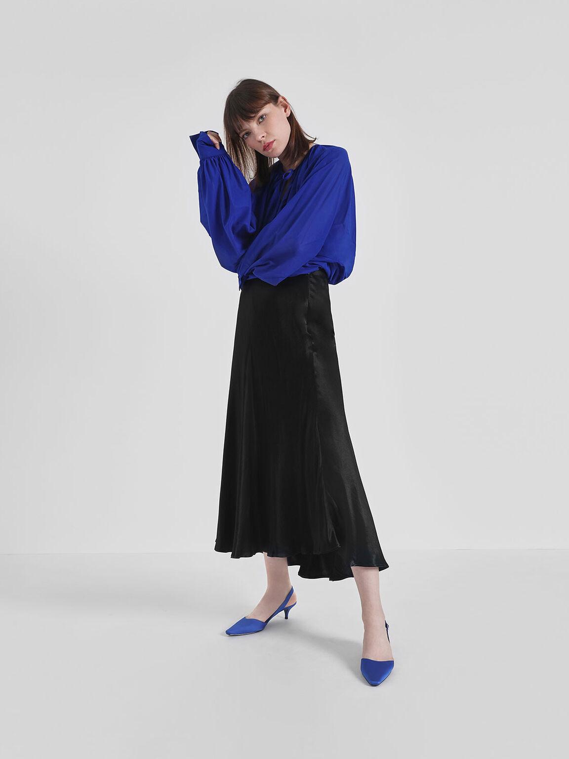 Satin Closed Toe Slingback Heels, Blue, hi-res