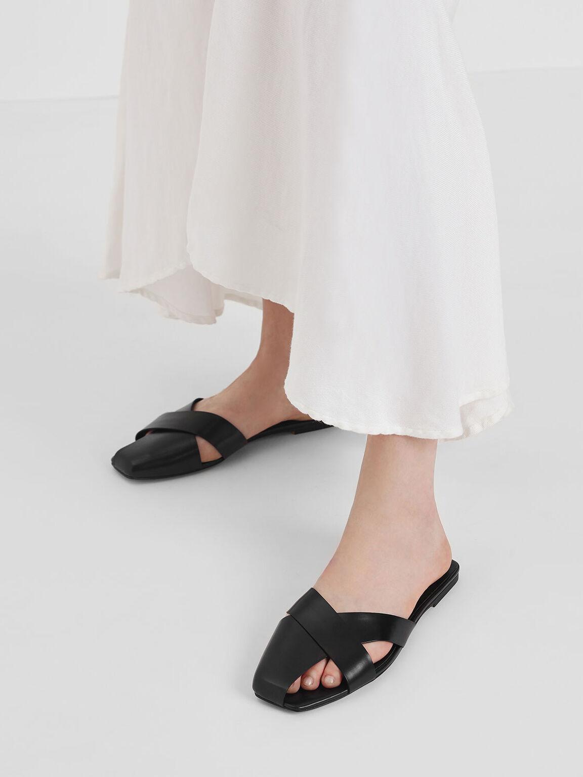 Asymmetrical Strap Slide Sandals, Black, hi-res