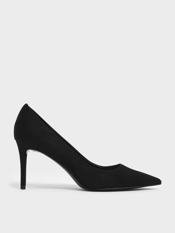 Classic Pointed Toe Pumps, Black Textured, hi-res