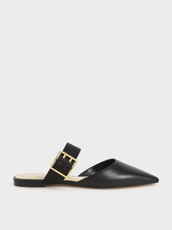 Satin Buckle Strap Mules, Black, hi-res
