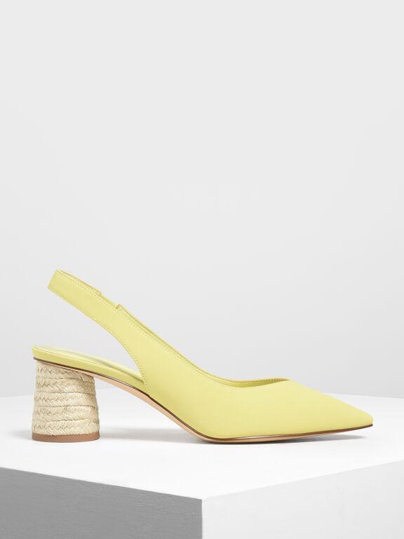 Cylindrical Espadrille Block Heel Slingbacks, Yellow