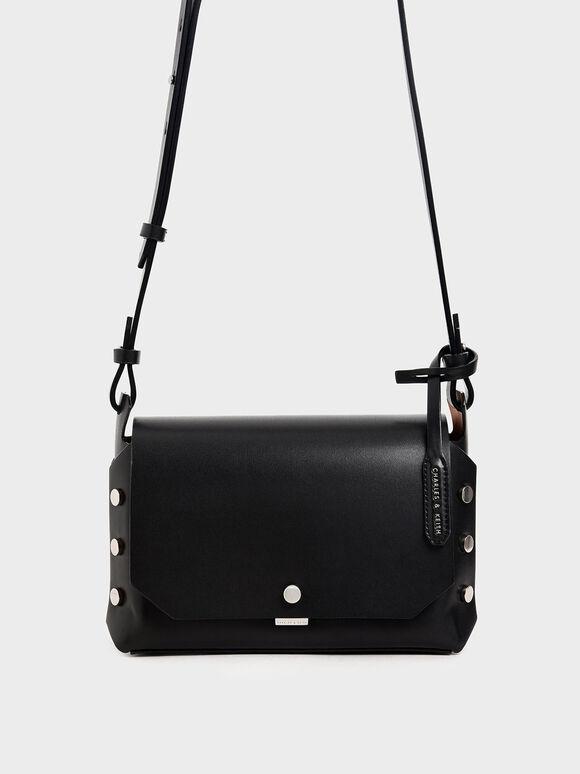Reversible Front Flap Crossbody Bag, Black, hi-res