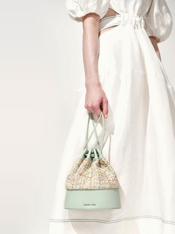 Tweed Drawstring Bucket Bag, Mint Green, hi-res