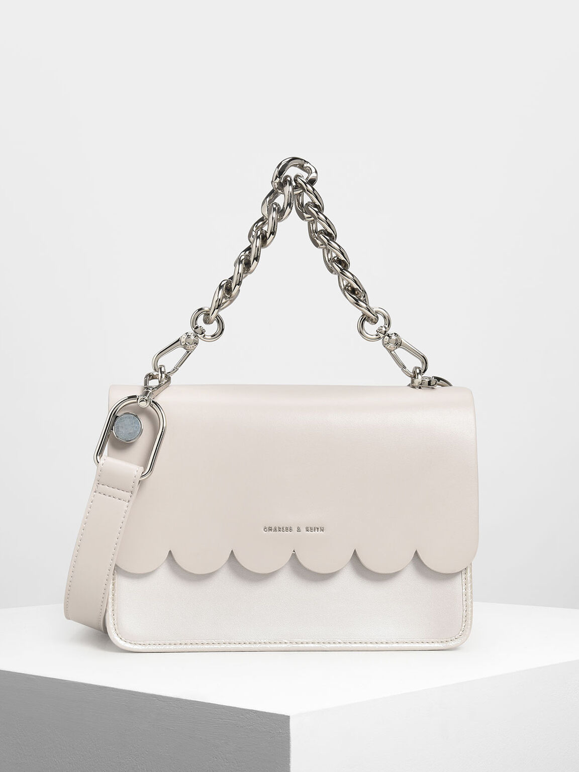 Scallop Edge Front Flap Bag, Pearl, hi-res