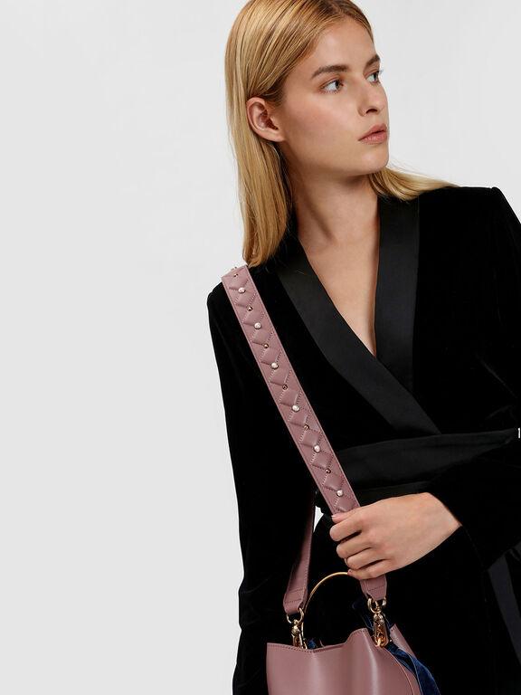 Embellished Quilted Bag Strap, Mauve, hi-res