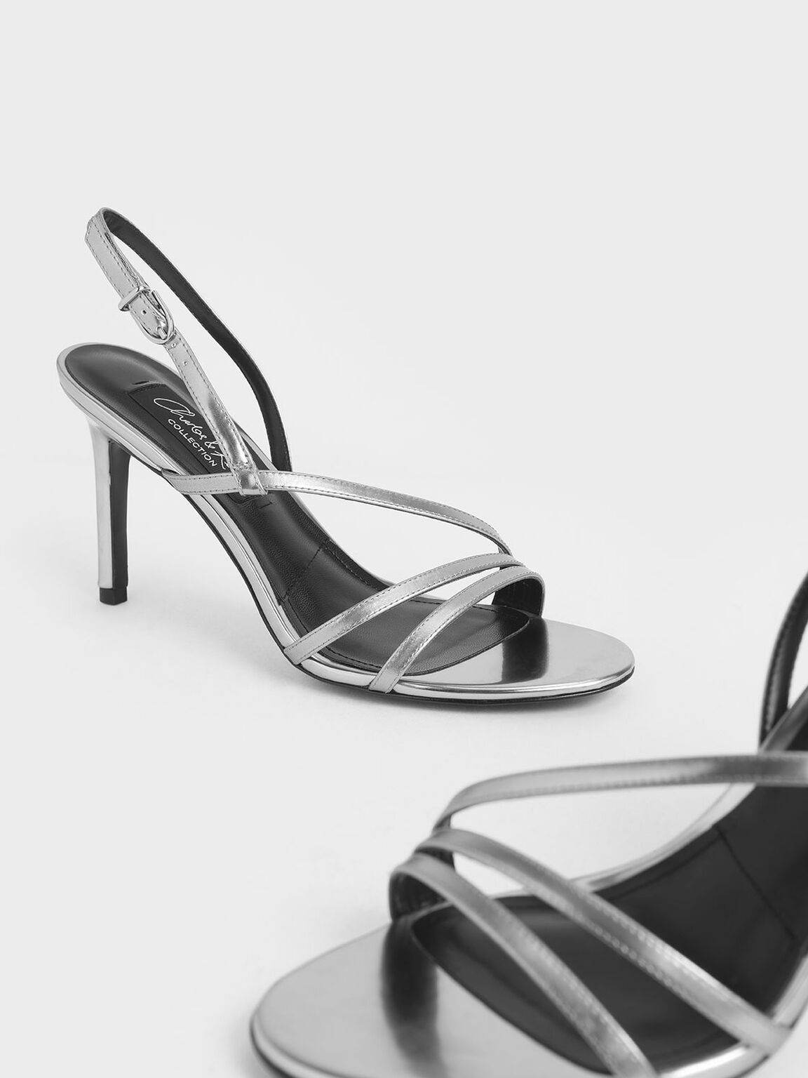 Mirror Metallic Leather Strappy Heeled Sandals, Silver, hi-res