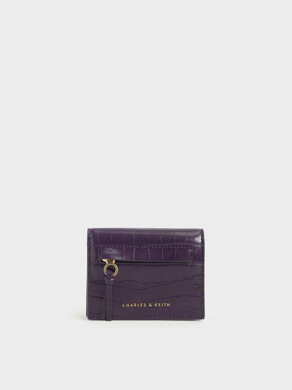Croc-Effect Front Zip Card Holder, Purple, hi-res