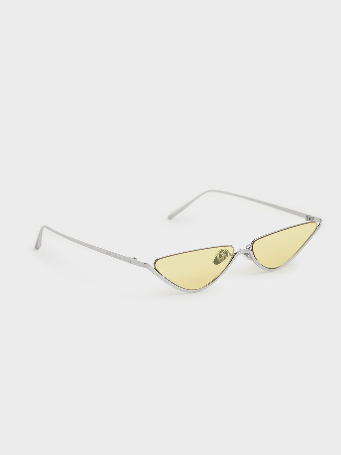 Thin Metal Frame Cat-Eye Sunglasses, Yellow, hi-res