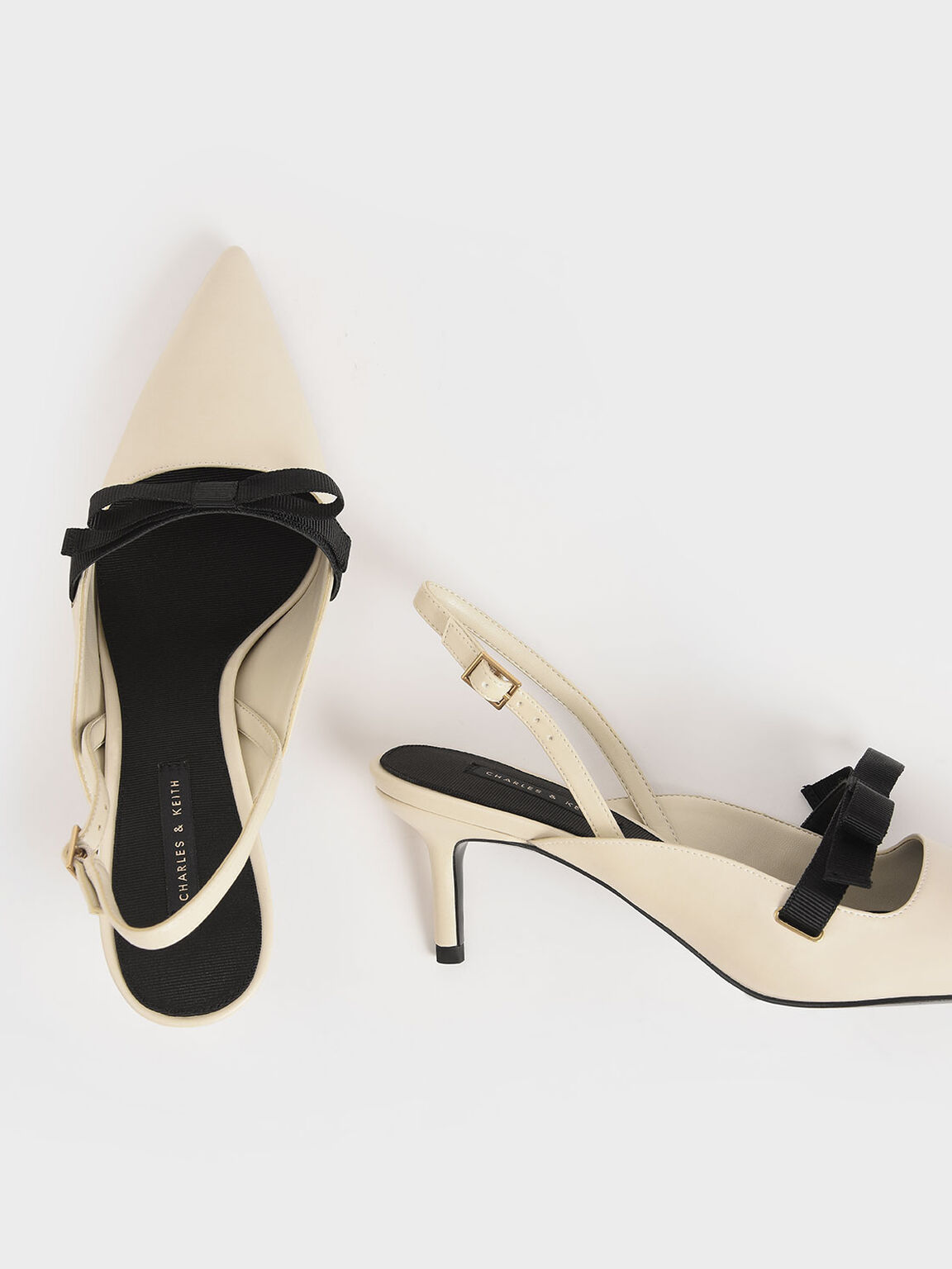 Bow Slingback Pumps, Chalk, hi-res