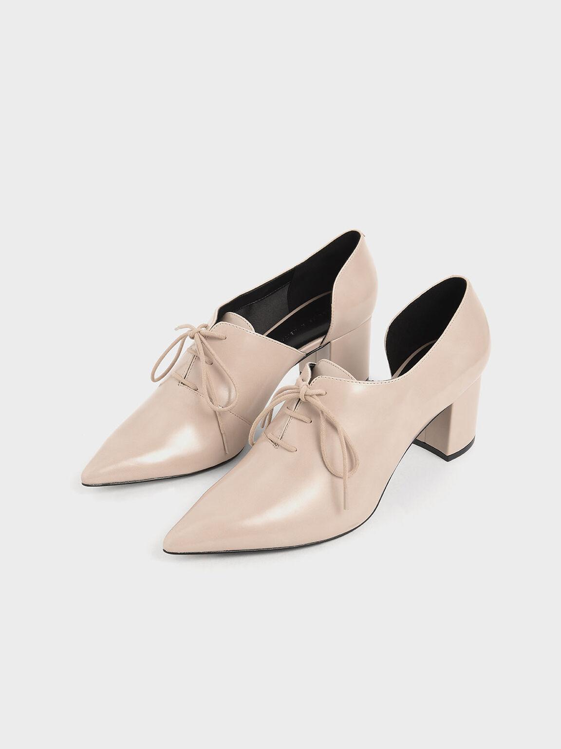 D'Orsay Oxford Block Heels, Nude, hi-res