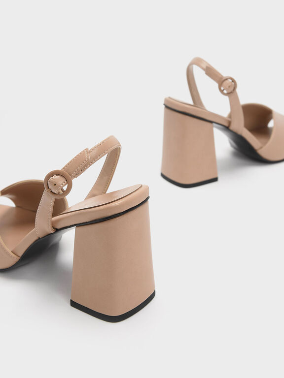Open Toe Slingback Block Heel Sandals, Nude