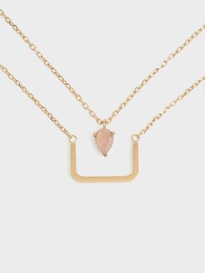 Sunstone Layered Matinee Necklace, Bronze