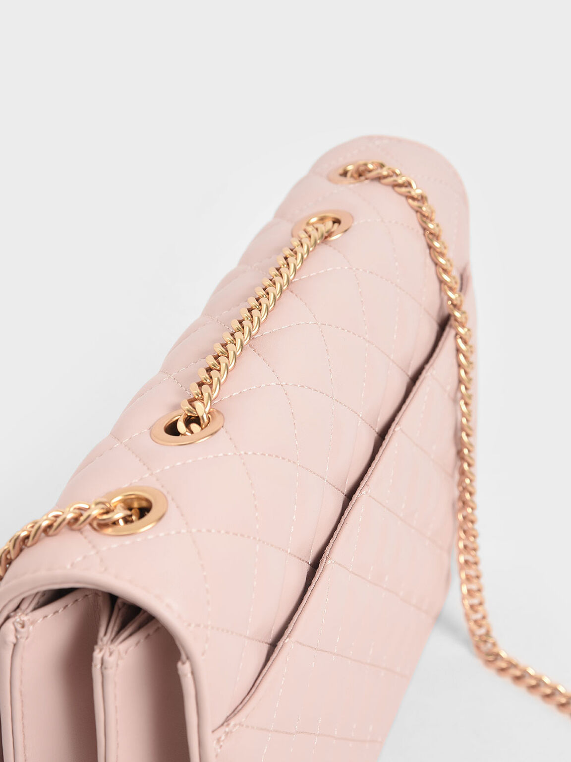 Quilted Chain Strap Shoulder Bag, Pink, hi-res