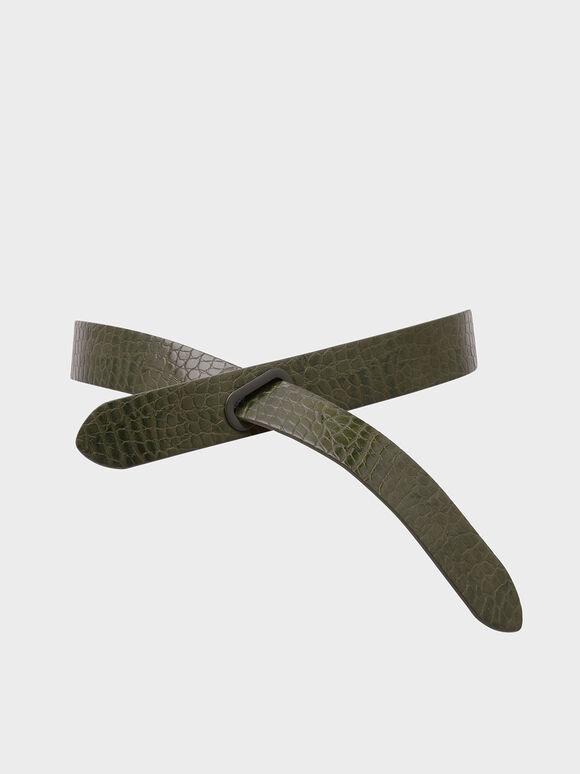 鱷魚紋中腰皮帶, 橄欖色, hi-res