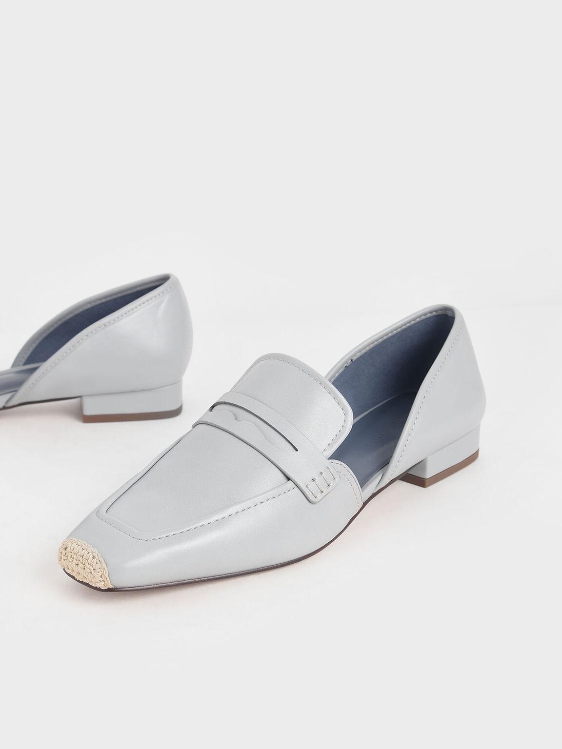Espadrille Toe Cap Penny Loafers, Light Blue, hi-res