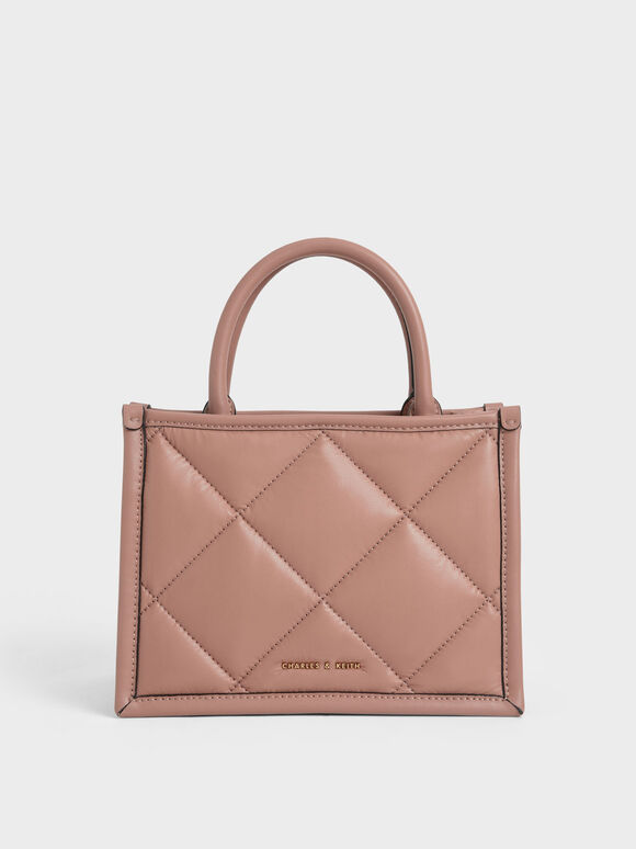 Quilted Double Handle Tote Bag, Blush, hi-res