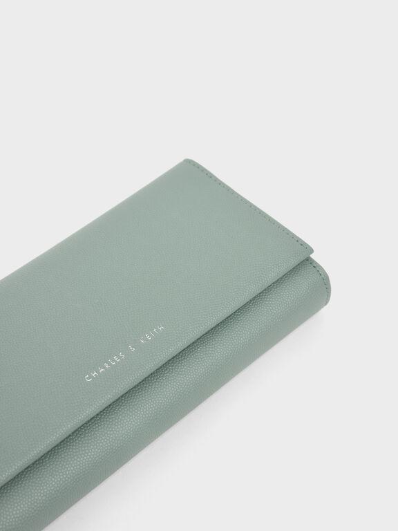 Metal Tassel Classic Long Wallet, Sage Green, hi-res