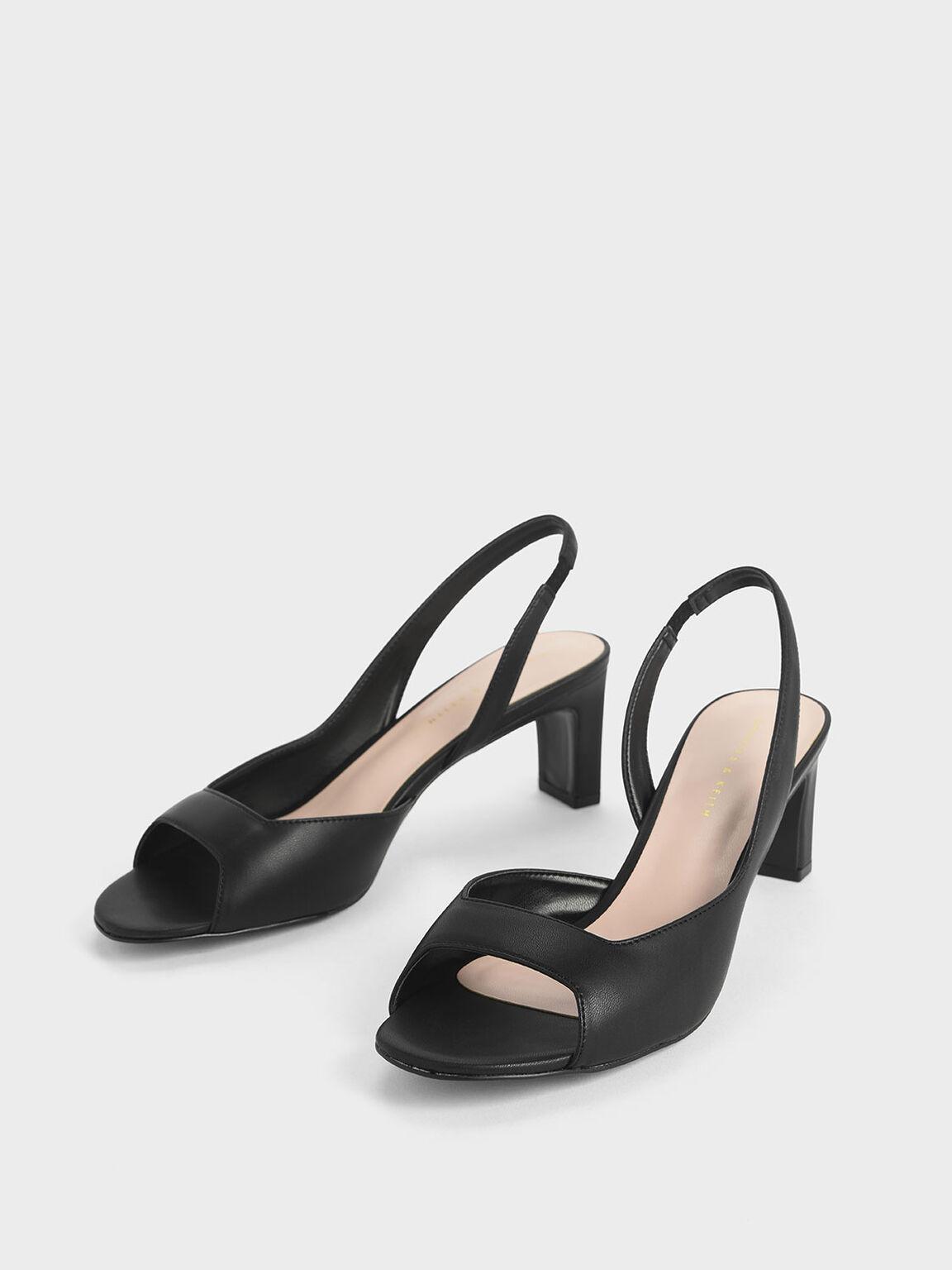 Open Toe D'Orsay Slingback Heels, Black, hi-res