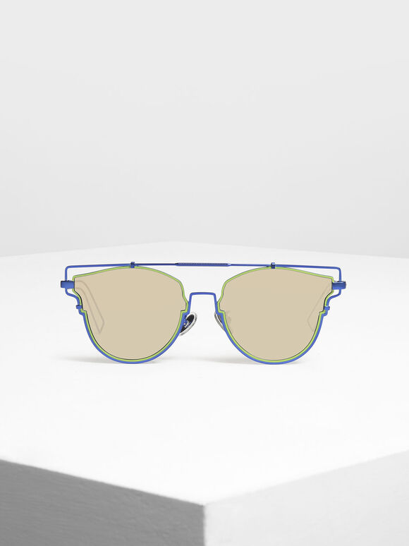 Wire Frame Geometric Sunglasses, Blue, hi-res