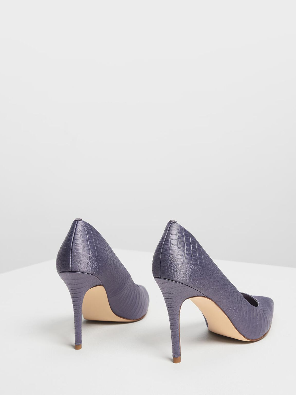 Embossed Pointed Pumps, Purple, hi-res