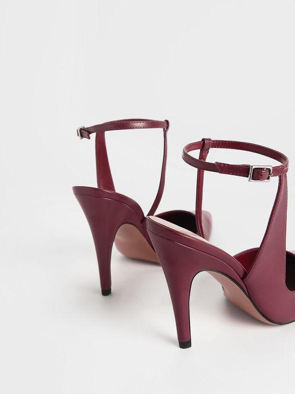 Side Strap Pointed Stiletto Heels, Pink