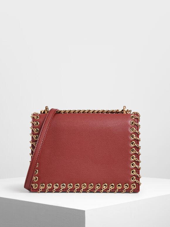 Chain Trim Crossbody Bag, Red, hi-res
