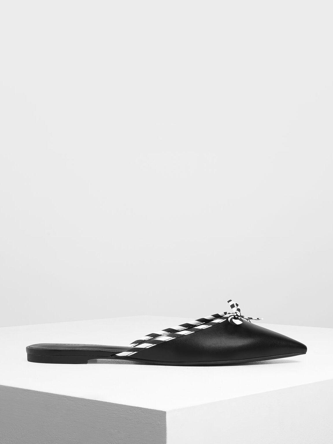 보우 디테일 슬립-온, 블랙, hi-res