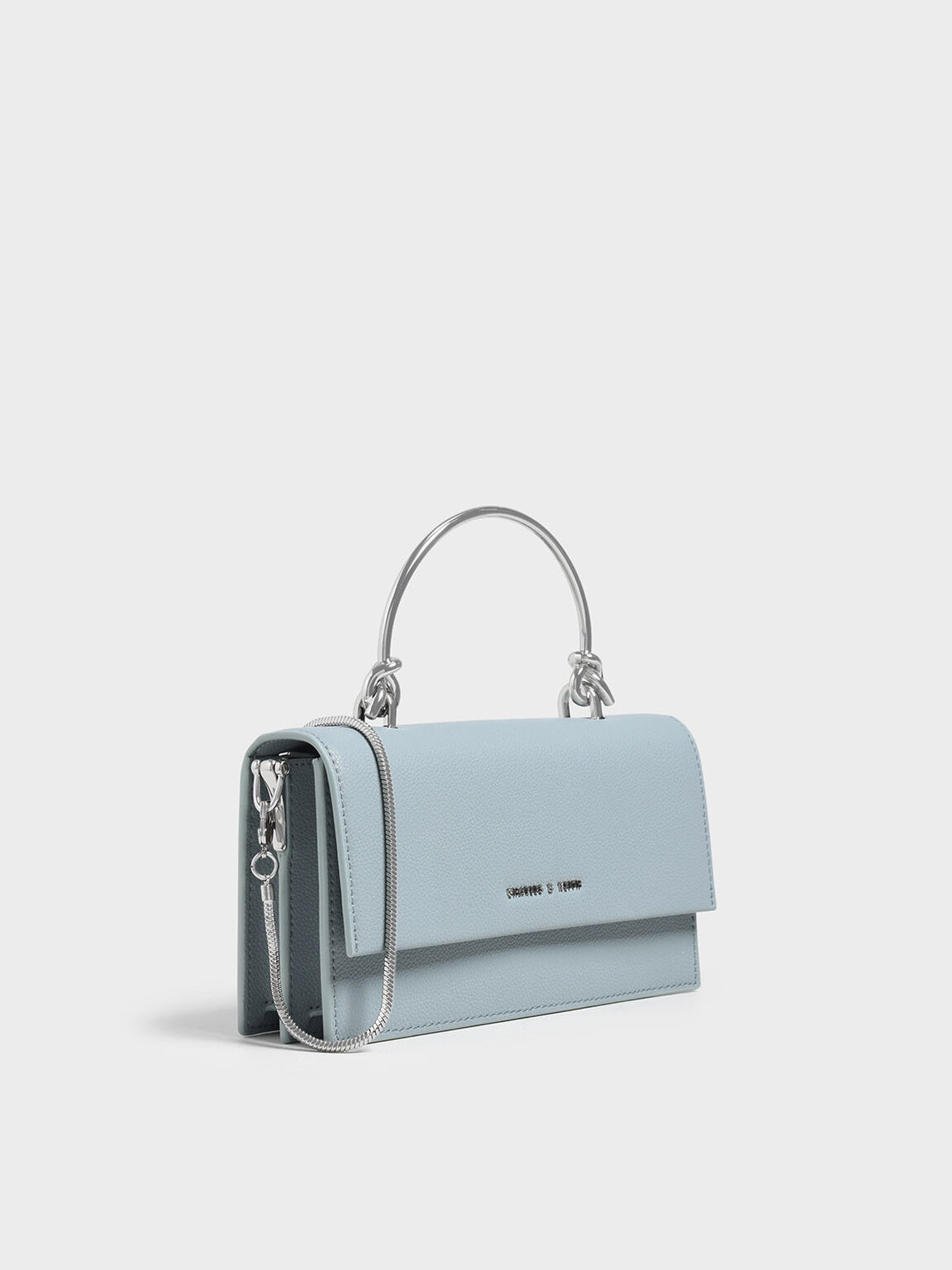 Metallic Handle Long Wallet, Slate Blue, hi-res