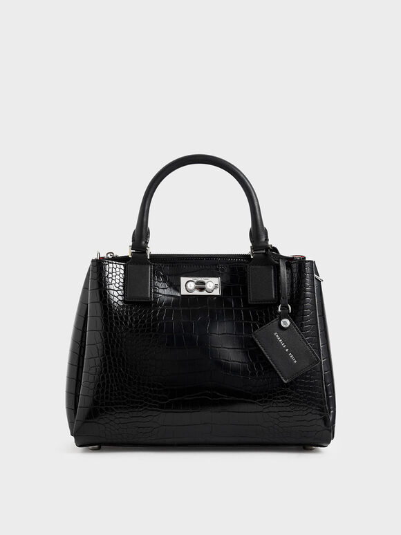 Croc-Effect Large Structured Bag, Black, hi-res