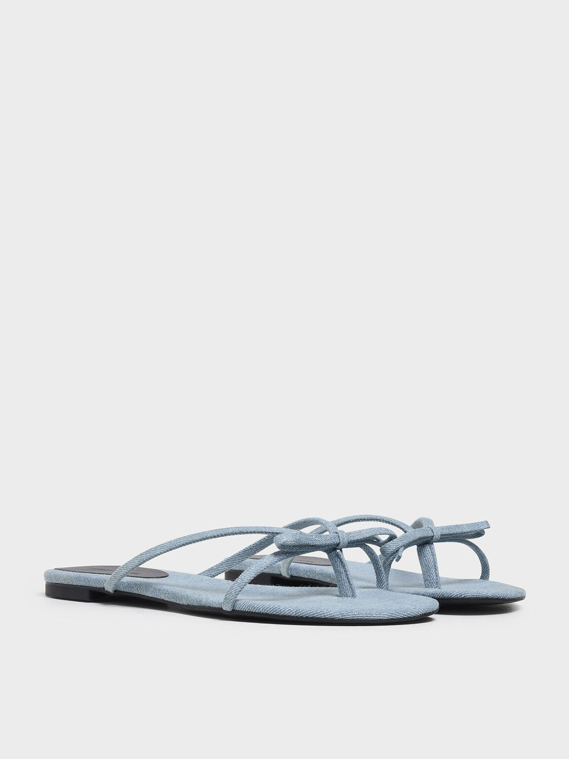 Strappy Bow Denim Thong Sandals, Light Blue, hi-res
