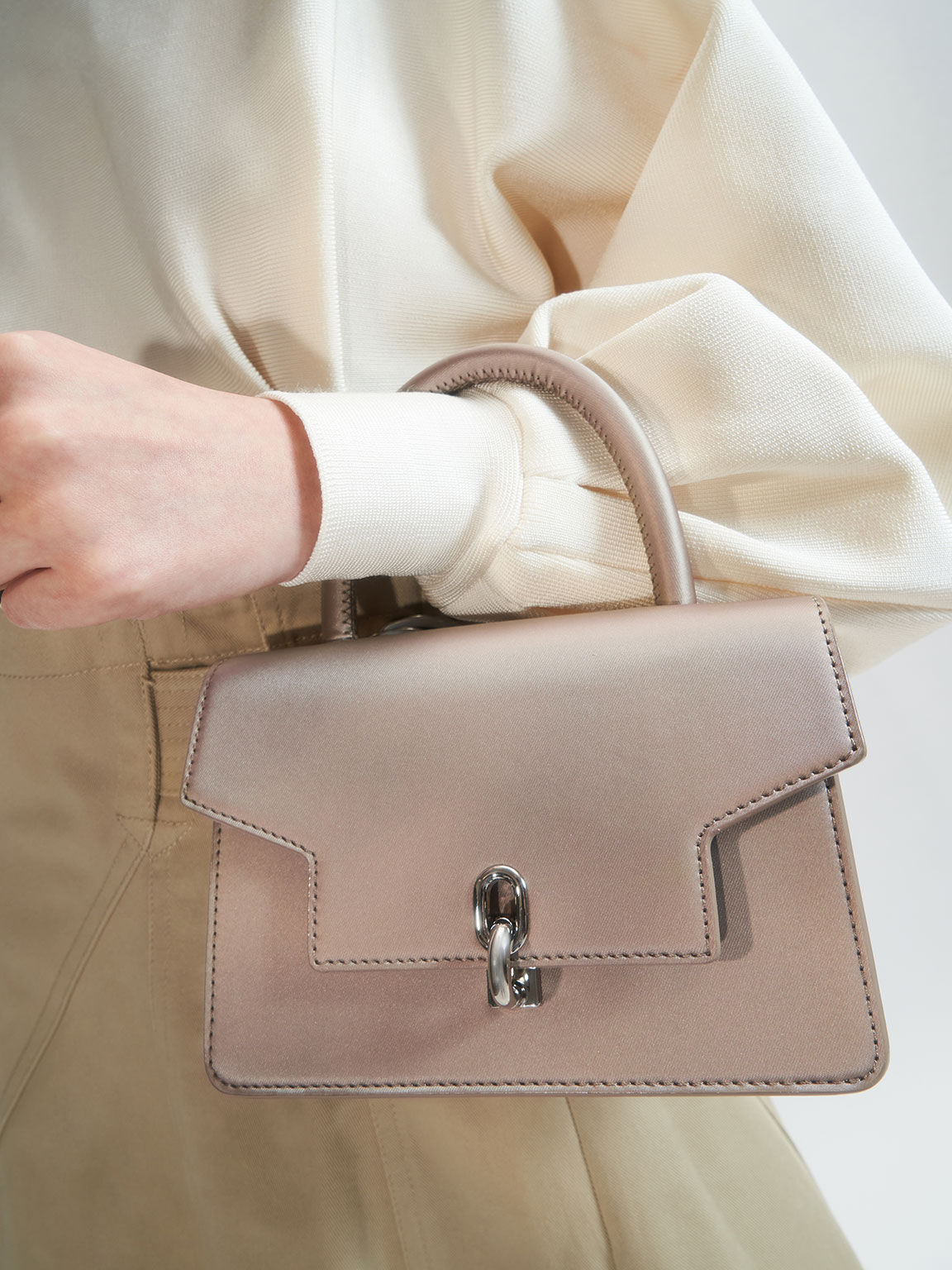 Leather Metallic Turn-Lock Bag, Beige, hi-res