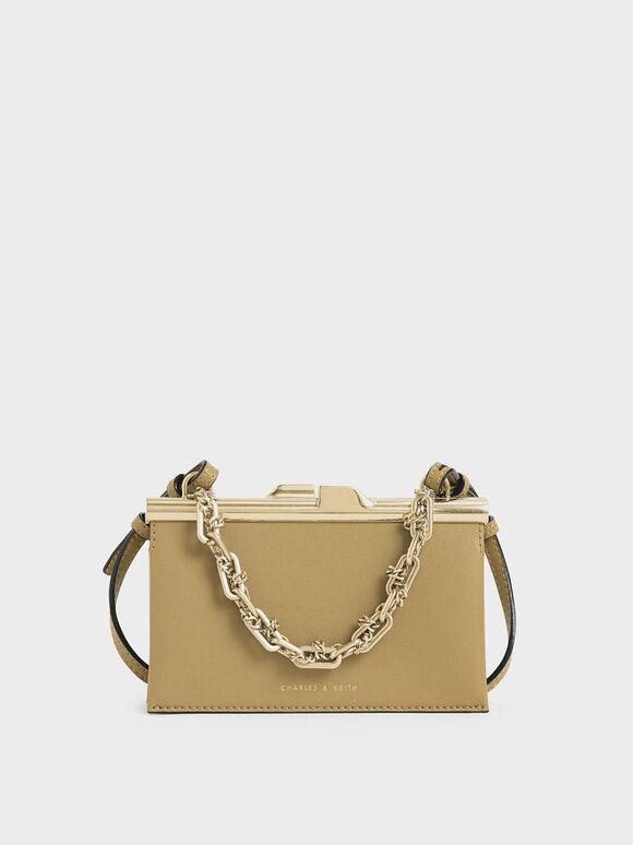 Boxy Chunky Chain Clutch, Sand, hi-res