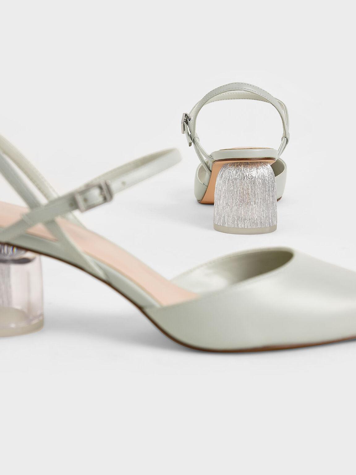 Sculptural Heel Ankle Strap Pumps, Light Grey, hi-res