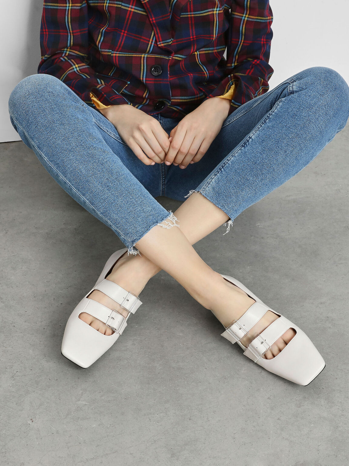 Double Buckle Mary Jane Flats, Chalk, hi-res