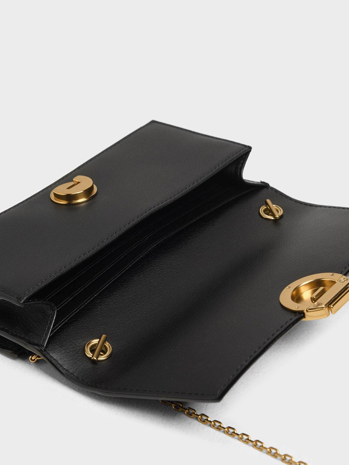 Circular Push Lock Long Wallet, Black, hi-res