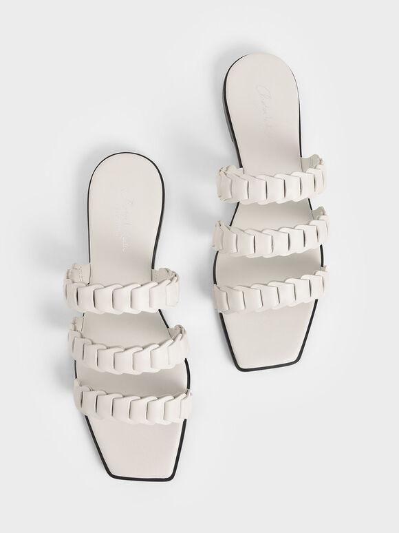 真皮打褶帶拖鞋, 石灰白, hi-res