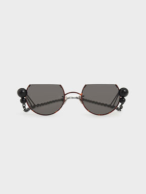 Black Marble Stone Chain Link Round Cut-Off Sunglasses, T. Shell