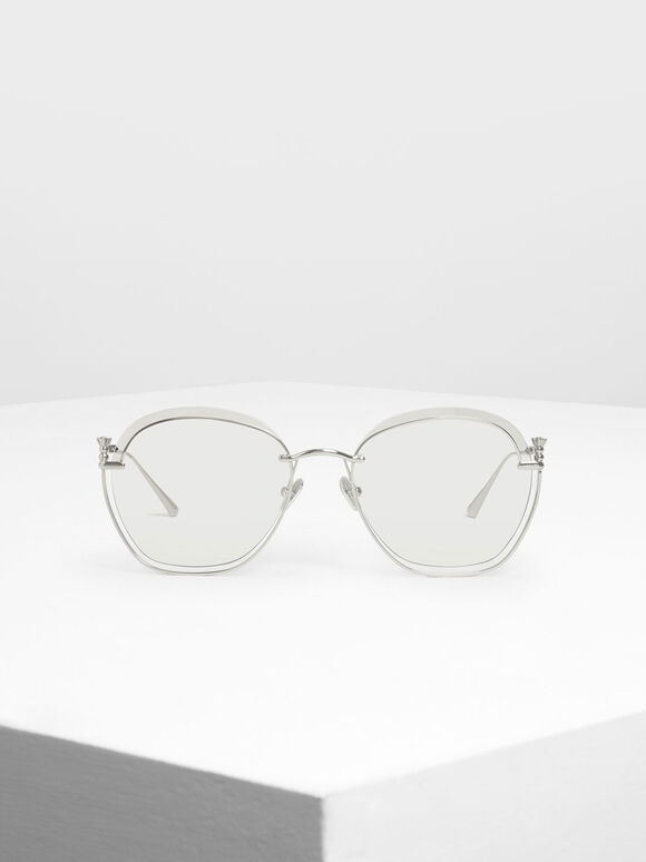 Cut Out Butterfly Sunglasses, Silver, hi-res