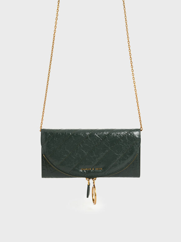 Wrinkled Effect Ring Zip Flap Long Wallet, Dark Green, hi-res