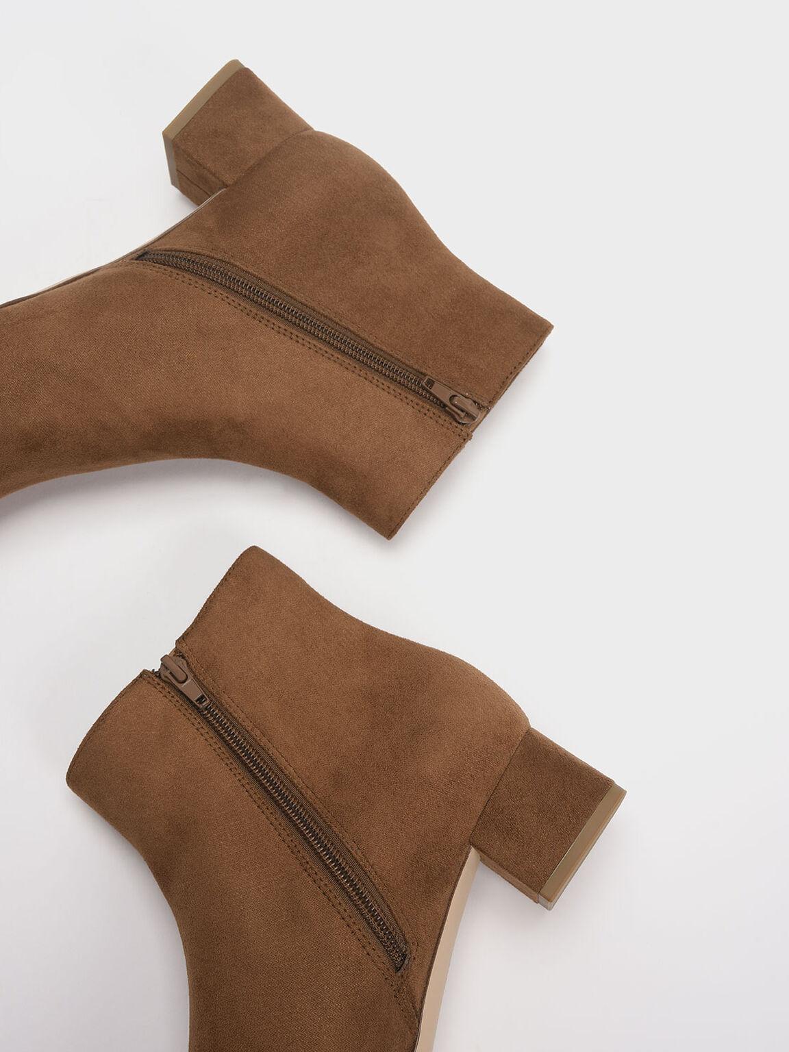 Textured Block Heel Ankle Boots, Beige, hi-res