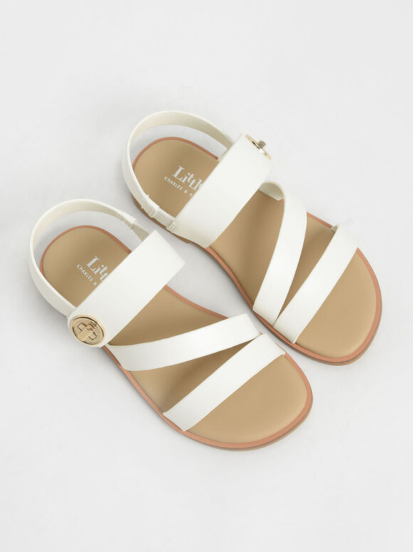 Girls' Metallic Buckle Sandals, White, hi-res